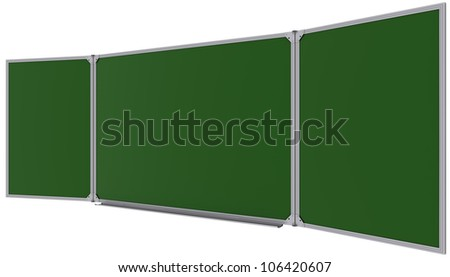 Big magnetic green board. Isolated on white background