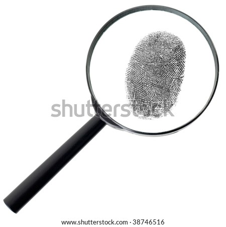 Big magnifier and fingerprint isolated on a white background