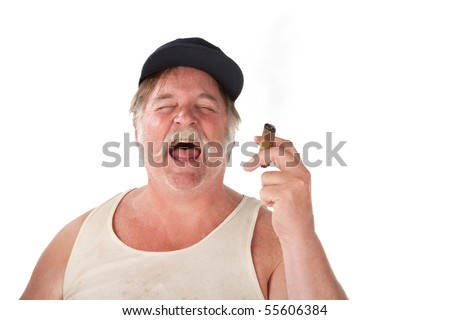 Big man with cigar and hat laughing loudly - stock photo