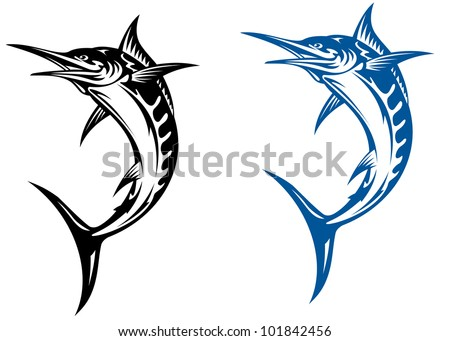 Big marlin fish isolated on white background i for mascot design, such logo. Vector version also available in gallery