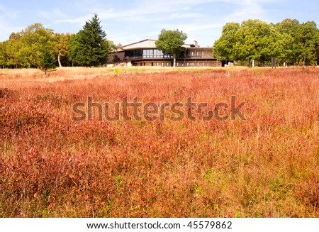 Big Meadows in fall color and visitor center