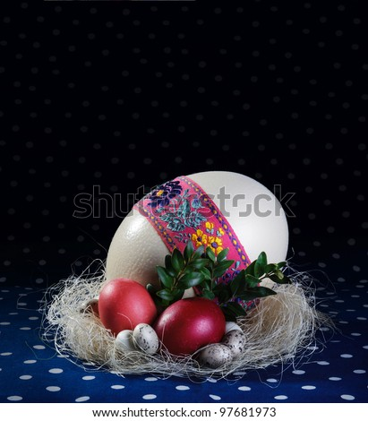 Big, medium and small easter eggs