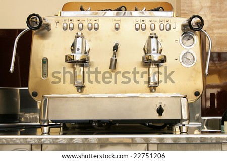 Big metal coffee machine in bar close-up