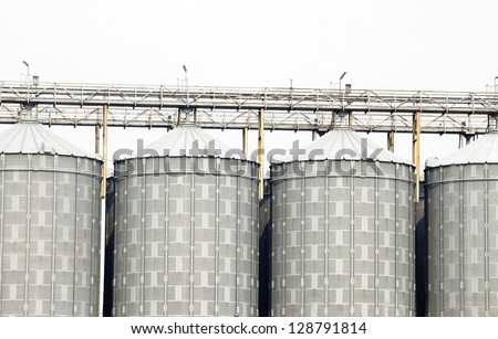 Big metal silo with isolated background.
