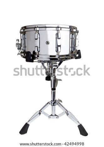 Big metal snare drum on a stand isolated on white