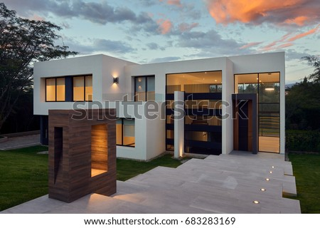 Big modern beautiful house #683283169