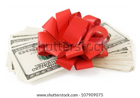 Big money stack with red bow isolated on white background