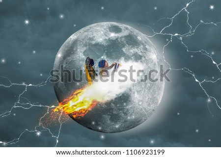 Stock Photo Big moon, asian boys driving the clouds, Lightning around, With background is sky and clouds.