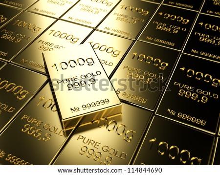 big number of gold bars