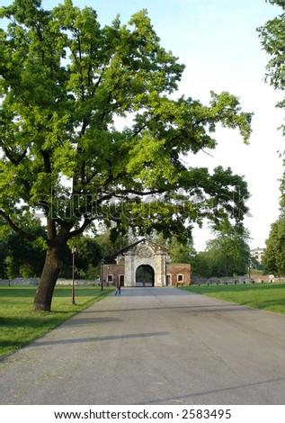 Big oak and arch in Kalemegdan park of Belgrade