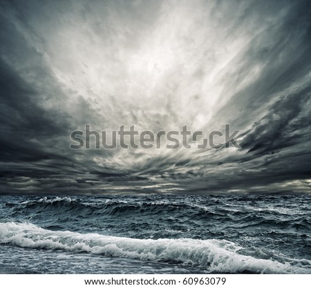 Big ocean wave breaking the shore - stock photo