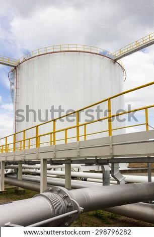 Big oil tank farm in refinery industry