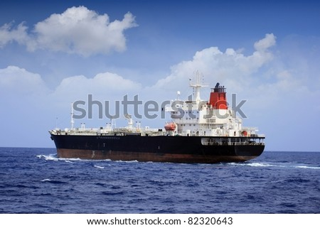 Big oil tanker sailing