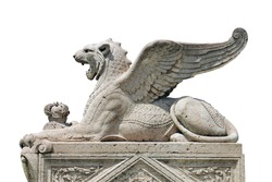 big old beautiful white stone marble statuary of big griffin or lion with wings in geneva isolated on white background