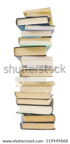 Big old book pile isolated on white background