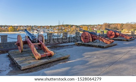 Big Old Cannon Guns in Fredrikstad Norway #1528064279