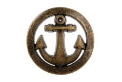 big old metal round button with an anchor isolated on white. Use for sew and tailor