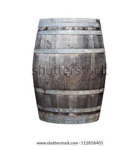 Big old wine barrel isolated on white background
