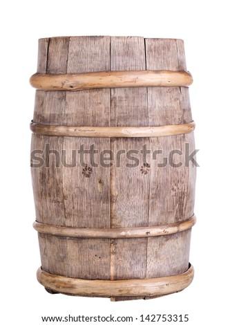 Big old wine barrel, isolated on white background