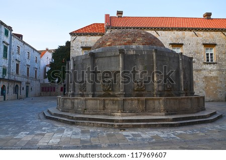 Big Onofrio Fountain built by Onofrio della Cava in 1438 and is one of Dubrovnik famous landmark