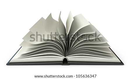 Big open book. White background. 3d render