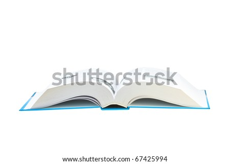 big open book with page up on white background