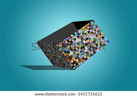 Big opened multimedia  box made from a variety of different images, over blue background