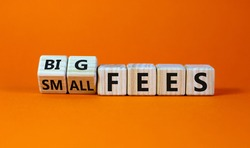 Big or small fees symbol. Turned wooden cubes and changed words 'small fees' to 'big fees'. Beautiful orange table, orange background, copy space. Business and big or small fees concept.