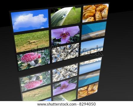 big panel of TV's