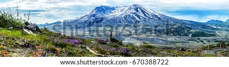 Big panorama view of Summer Mt Saint Helens.