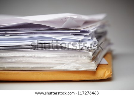 Big paper stack of old documents