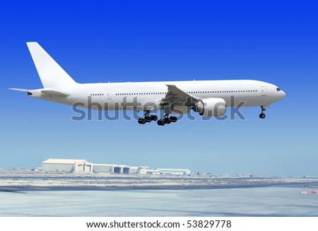 big passenger airplane is landing to runway of airport