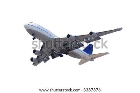Big passenger airplane isolated on white background