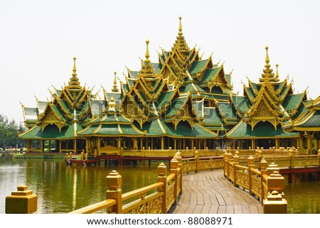 Big pavilion on water  thailand