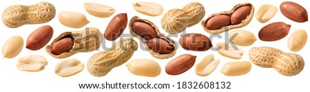 Big peanut set isolated on white background. Groundnuts shelled and in nutshell. Package design element with clipping path Сток-фото ©