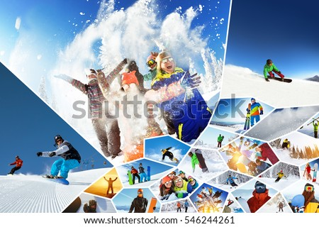 Big photo collage of winter sports ski and snowboarding. Groups of friends and individuals having fun, riding and jumping on slope and off-piste