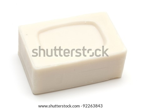 big piece of soap on white background - stock photo