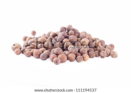 big pile of allspice , square on the white background