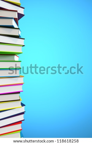Big pile of books with copyspace and clipping path