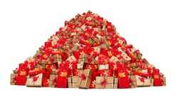 Big pile of Christmas gifts isolated on white background. Mountain of Xmas boxes. Many Christmas packages on a large heap. Red and gold gifts.
