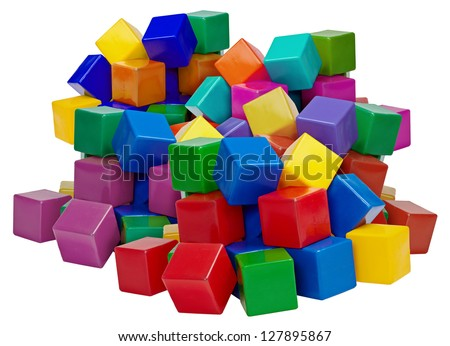 Big pile of color plastic blocks isolated on white background