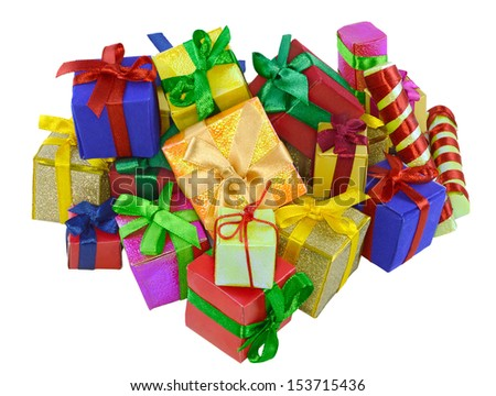 Big pile of colorful small gifts isolated