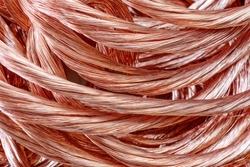 Big pile of copper wire close-up