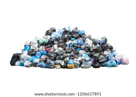 Big pile of garbage in black blue trash bags isolated on white background. Ecology concept. Pollution environment disaster.