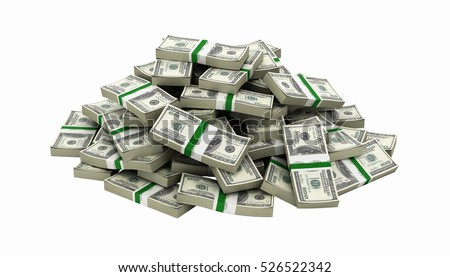 big pile of money american dollar bills without shadow 3d