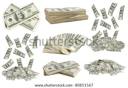 big pile of money. dollars over white background