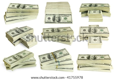 big pile of money. stack of american dollars