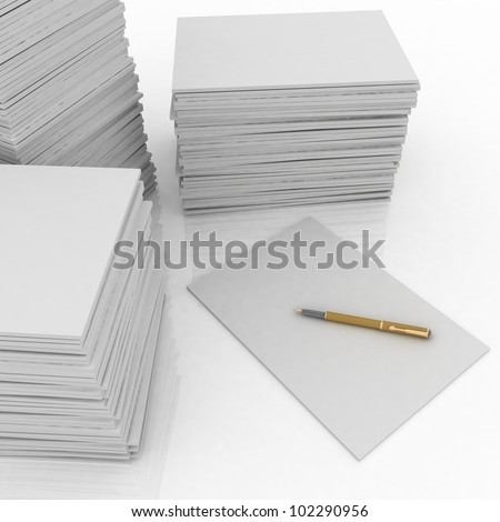 big pile of paper and pen on white background