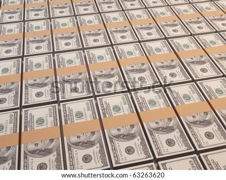 Big pile of stacked dollar bills - stock photo