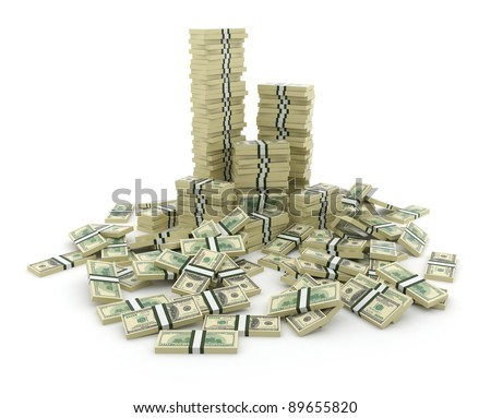 Big pile of the money. Green  dollars USA 3D concept. Isolated on white background